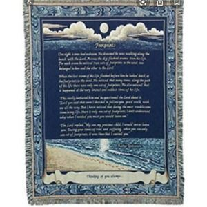 Simply Home Footprints Deluxe Woven Throw Blanket